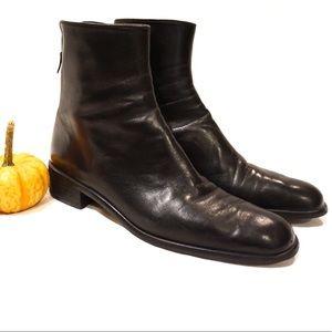 Stuart Weitzman Short Leather Booties Block Heel